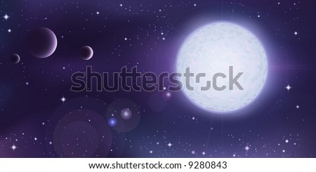 Outer space landscape - white star with several planets in foreground (other space landscapes are in my gallery) - stock photo