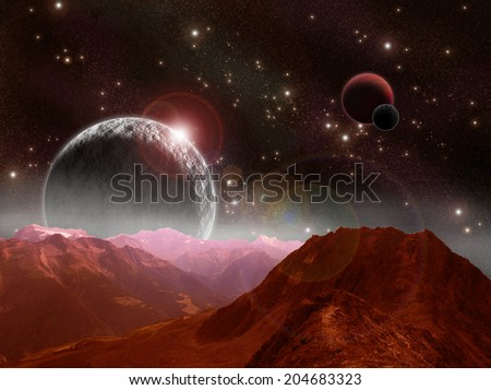Outer Space Scene - stock photo