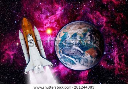 Outer space shuttle rocket launch spaceship planet Earth. Elements of this image furnished by NASA. - stock photo