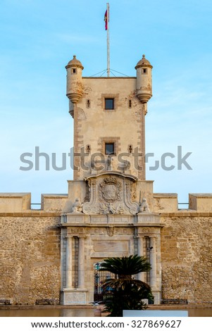 Outer walls that separate the old quarter and the modern zone of the city of Cadiz, Spain - stock photo