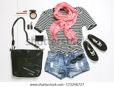 Outfit of casual woman./ Overhead of essentials modern woman.  - stock photo