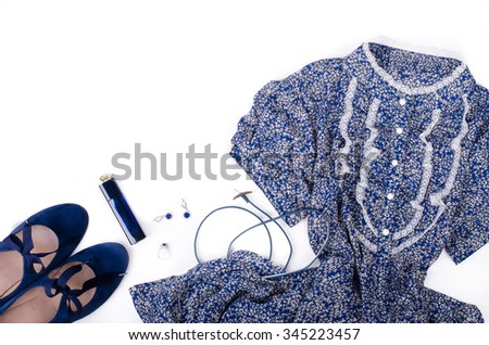 Outfit of stylish ladies clothing on a white background. Blue retro shoes, dress, jewerly and perfume. Free space for your text.  - stock photo