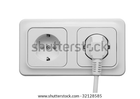 Outlet with power cord isolated on white background - stock photo