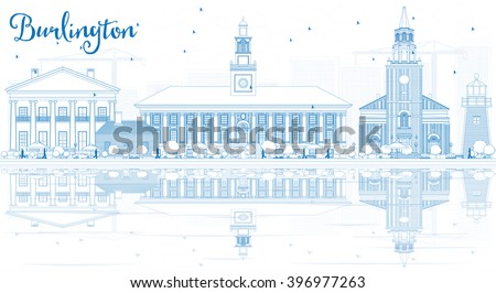 Outline Burlington (Vermont) City Skyline with Blue Buildings and Reflections. Business and tourism concept. Image for presentation, banner, placard or web site - stock photo