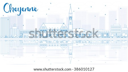 Outline Cheyenne skyline with blue buildings and reflections. Business travel and tourism concept with place for text. Image for presentation, banner, placard and web site. - stock photo