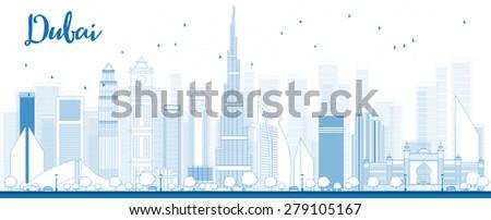 Outline Dubai City skyline with blue skyscrapers - stock photo