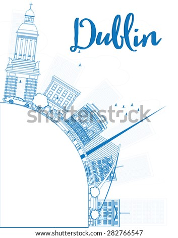 Outline Dublin Skyline with Blue Buildings and copy space, Ireland. Business travel and tourism concept with place for text. Image for presentation, banner, placard and web site. - stock photo