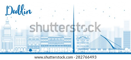 Outline Dublin Skyline with Blue Buildings, Ireland. Business travel and tourism concept with historic buildings. Image for presentation, banner, placard and web site. - stock photo