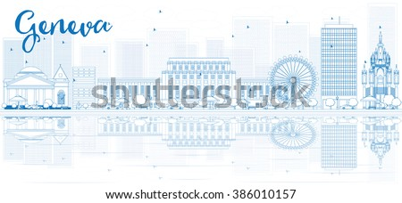 Outline Geneva skyline with blue buildings and reflections. Business travel and tourism concept with place for text. Image for presentation, banner, placard and web site. - stock photo