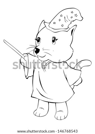 Outline illustration of a cat in magician costume - stock photo