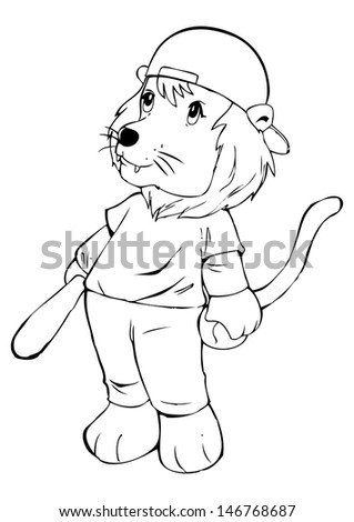 Outline illustration of a lion in baseball uniform - stock photo