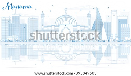 Outline Manama Skyline with Blue Buildings and Reflections. Business Travel and Tourism Concept with Modern Buildings. Image for Presentation Banner Placard and Web. - stock photo