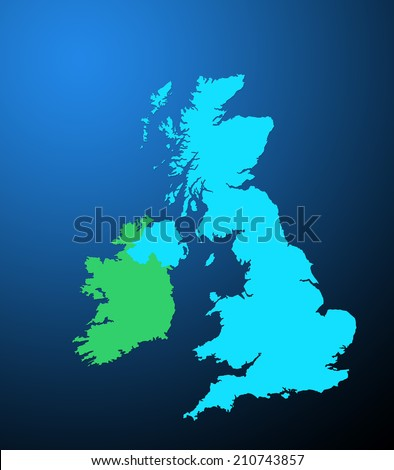 Outline map of UK and Ireland over blue background - stock photo