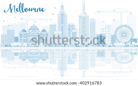 Outline Melbourne Skyline with Blue Buildings and Reflections. Business Travel and Tourism Concept with Modern Buildings. Image for Presentation Banner Placard and Web Site. - stock photo