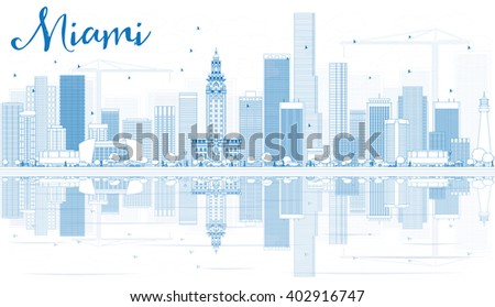 Outline Miami Skyline with Blue Buildings and Reflections. Business Travel and Tourism Concept with Modern Buildings. Image for Presentation Banner Placard and Web Site. - stock photo