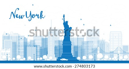 Outline New York city skyline with skyscrapers - stock photo