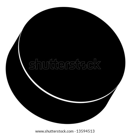 outline of a black hockey puck - stock photo