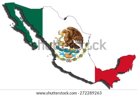Outline of national boundary of Mexico filled with country flag. Isolated on white background and dropping a shadow - stock photo