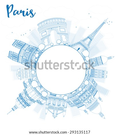 Outline Paris skyline with blue landmarks and copy space. Business travel and tourism concept with place for text. Image for presentation, banner, placard and web site. - stock photo