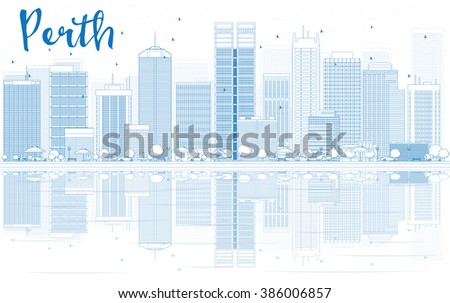 Outline Perth skyline with blue buildings and reflections. Business travel and tourism concept with place for text. Image for presentation, banner, placard and web site. - stock photo