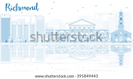 Outline Richmond (Virginia) Skyline with Blue Buildings and Reflections. Business Travel and Tourism Conceptwith Modern Buildings.Image for Presentation, Banner and Web Site. - stock photo