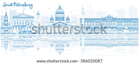 Outline Saint Petersburg skyline with blue buildings and reflections. Business travel and tourism concept with place for text. Image for presentation, banner, placard and web site. - stock photo