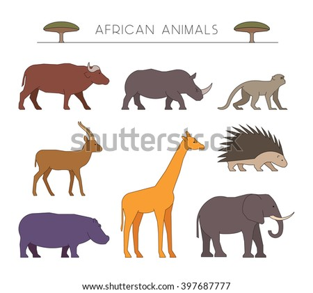 Outline set of african animals. Linear silhouettes african animals isolated on white. Icons african buffalo, rhino and monkey. Outline silhouette gazelle, giraffe and porcupine. - stock photo