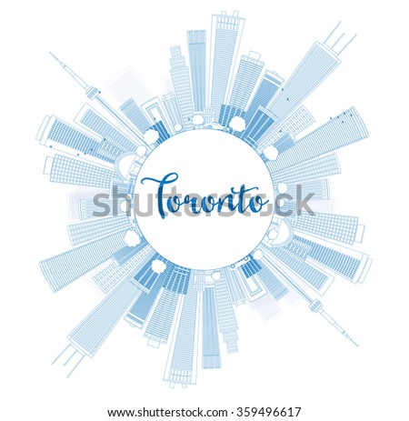 Outline Toronto skyline with blue buildings and copy space. Business travel and tourism concept with place for text. Image for presentation, banner, placard and web site. - stock photo