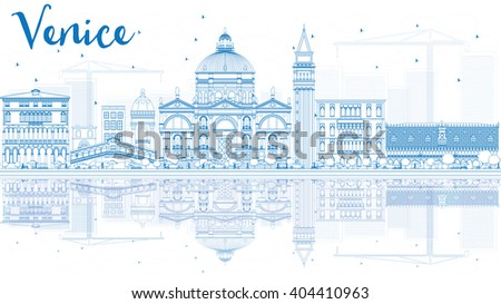 Outline Venice Skyline Silhouette with Blue Buildings. Business Travel and Tourism Concept with Historic Buildings and Reflections. Image for Presentation Banner and Placard. - stock photo