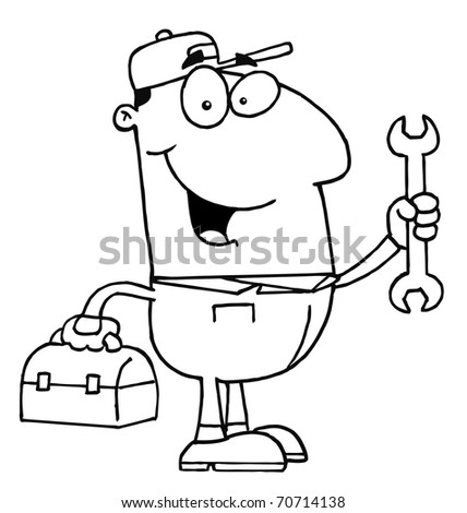 Outlined Auto Mechanic - stock photo