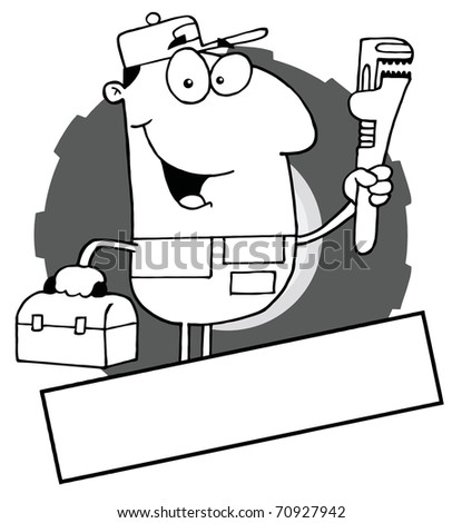 Outlined Auto Mechanic With A Blank Text Box - stock photo