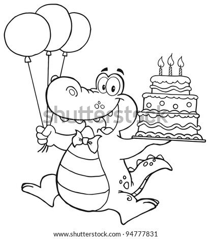 Outlined Birthday Crocodile Holding Up A Birthday Cake With Candles - stock photo