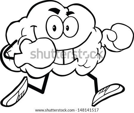 Outlined Brain Cartoon Character Running With Boxing Gloves. Vector version also available in gallery - stock photo