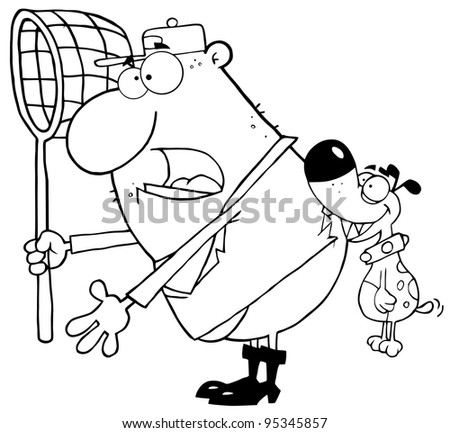 Outlined Dog Biting A Dog Catcher - stock photo