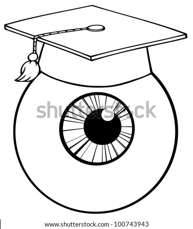 Outlined Eye Ball Cartoon Character With Graduate Cap. Raster Illustration.Vector version also available in portfolio. - stock photo