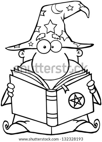 Outlined Funny Wizard Holding A Magic Book. Raster Illustration.Vector Version Also Available In Portfolio. - stock photo