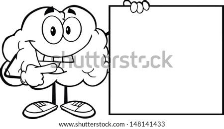 Outlined Happy Brain Cartoon Character Showing A Blank Sign. Vector version also available in gallery - stock photo