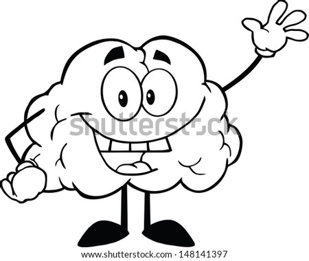 Outlined Happy Brain Cartoon Character Waving For Greeting. Vector version also available in gallery - stock photo
