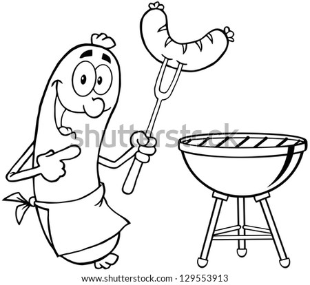 Outlined Happy Sausage With Sausage On Fork And Barbecue. Raster Illustration.Vector Version Also Available In Portfolio. - stock photo