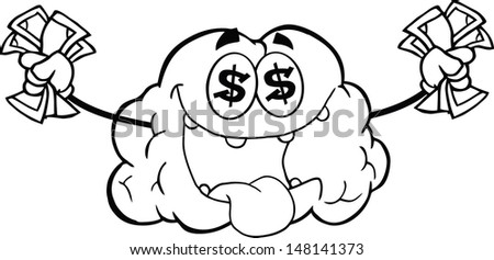 Outlined Money Loving Brain Cartoon Mascot Character. Vector version also available in gallery - stock photo