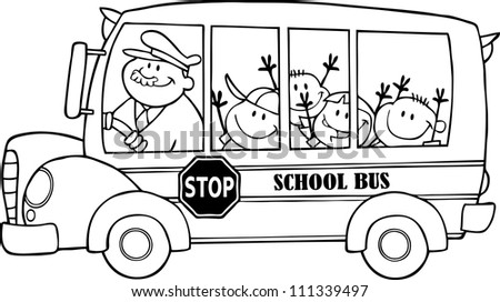 Outlined School Bus With Happy Children . Raster Illustration.Vector version also available in portfolio. - stock photo