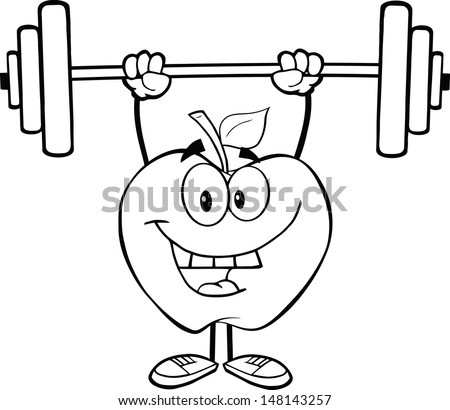 Outlined Smiling Apple Cartoon Character Lifting Weights. Vector version also available in gallery - stock photo
