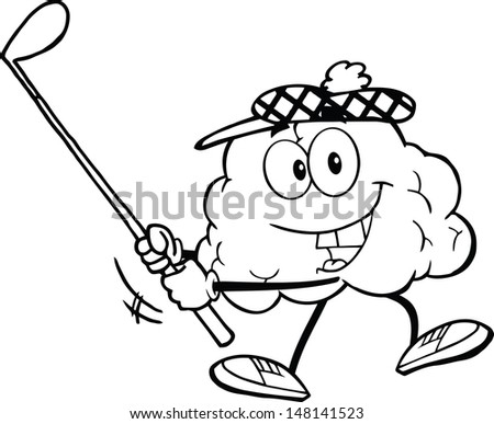 Outlined Smiling Brain Cartoon Character Swinging A Golf Club. Vector version also available in gallery - stock photo
