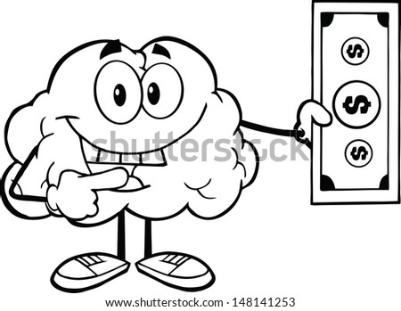 Outlined Smiling Brain Character Showing A Dollar Bill. Vector version also available in gallery - stock photo