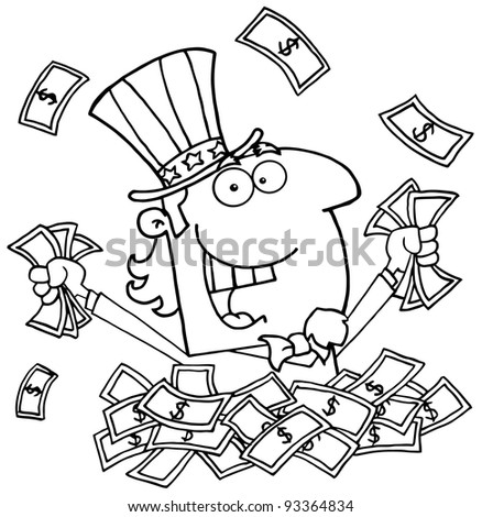 Outlined Uncle Sam Playing In A Pile Of Money - stock photo