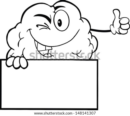 Outlined Winking Brain Character Holding A Thumb Up Over Sign. Vector version also available in gallery - stock photo