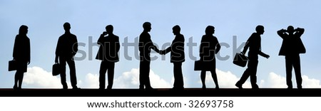 Outlines of business partners handshaking with several employees near by - stock photo