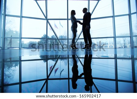 Outlines of successful businessman and businesswoman handshaking after striking deal - stock photo