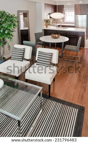 Outlook at the luxury modern living suite : two modern chairs with nicely decorated coffee table and dining room and kitchen at the back Interior design of a new house. Vertical. - stock photo