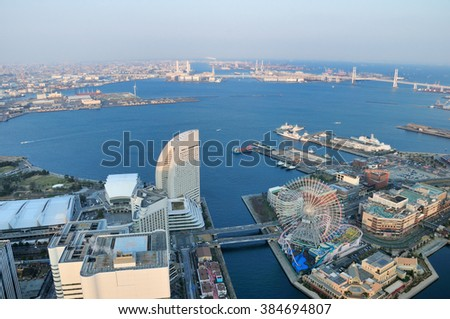 Outlook from Yokohama Landmark Tower  - stock photo